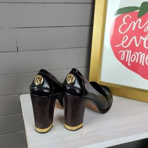 Tory Burch Gold Trimmed Penny Loafer Heels